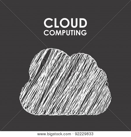 cloud computing over black background vector illustration