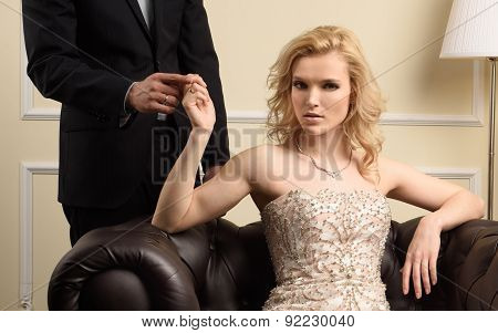 Luxury marriage couple in rich interior