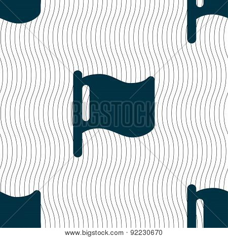 Flag Icon Sign. Seamless Pattern With Geometric Texture. Vector