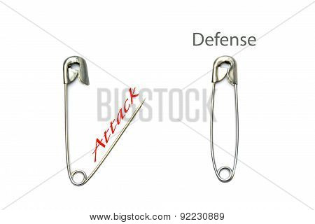 Safety Pins, Open And Closed With Text Attack - Defense, Isolated