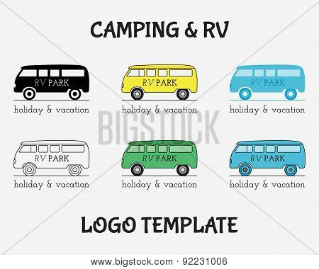 Outdoor Activity Travel Logo Vintage Labels Design Template. Rv, Forest Holiday Park, Caravan Motor