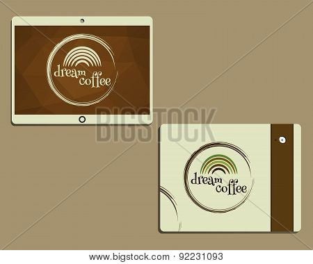 Corporate Identity Template Design For Cafe, Restaurant. Dream Coffee Concept. Mobile Device, Tablet