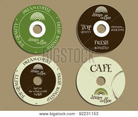 Brand identity elements - CD, DVD templates. sign, icon. Compact, disc, symbol. For cafe, restaurant