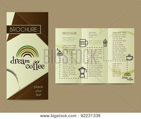 Coffee Brochure Flyer design Layout template. Triangle abstract style. Dream coffee design with info