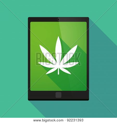 Tablet Pc Icon With A Marijuana Leaf