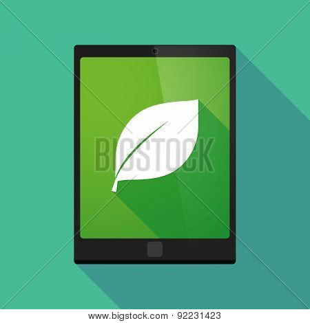 Tablet Pc Icon With A Leaf
