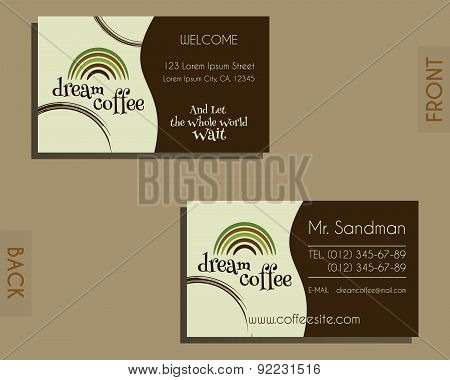 Brand identity elements - visiting card template. For cafe, restaurant and other food business. Coff