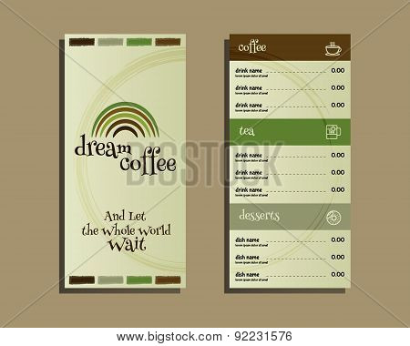 Restaurant and cafe menu. Flat design. With dream coffee logo template and coffee stains. Vector