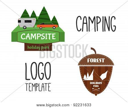 Set of Adventure Outdoor Tourism Travel Logo Vintage Labels design template. RV, forest holiday park