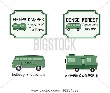 Outdoor Activity Travel Logo Vintage Labels design template. RV, forest holiday park, caravan. Campi