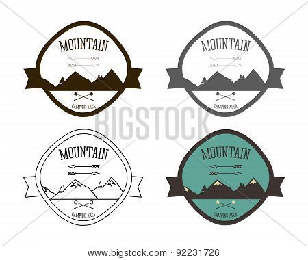 Set of Mountain campsite logo templates. Outdoor Activity Travel Logo Vintage Labels design. Camping