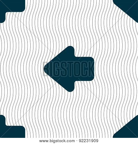 Arrow Left, Way Out Icon Sign. Seamless Pattern With Geometric Texture. Vector