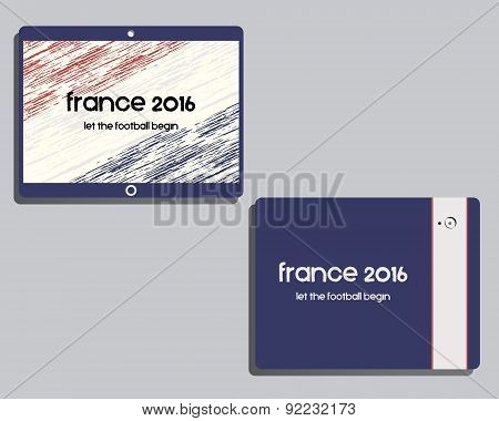Corporate identity template design. France 2016 Football. Mobile device, tablet. The national colors