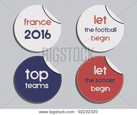 Set of unusual brand identity - France 2016 Football labels - stickers. The national colors of Franc