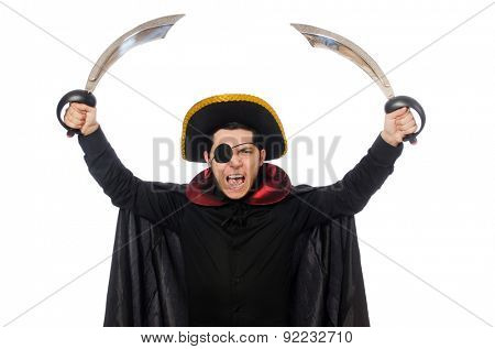 One eyed pirate with sword isolated on white