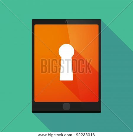 Tablet Pc Icon With A Key Hole