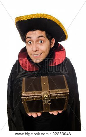 Young pirate holding chest box isolated on white