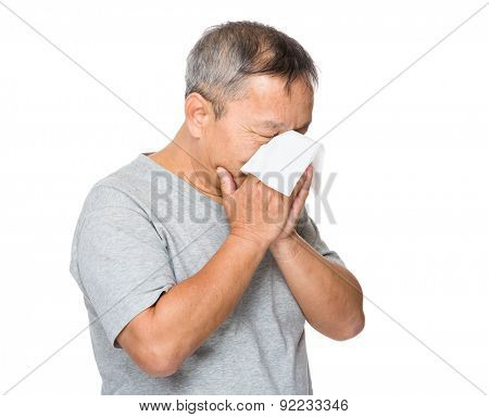 Old man feeling unwell