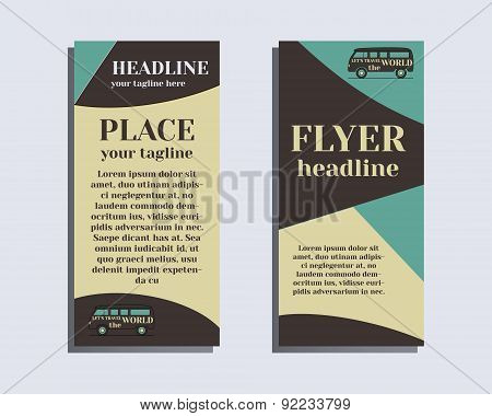 Travel and Camping Brochure Flyer design Layout template. Rv park and campground. Triangle abstract