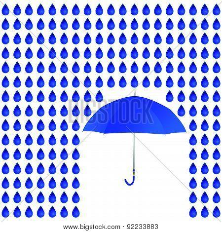 Rain And Umbrella Vector