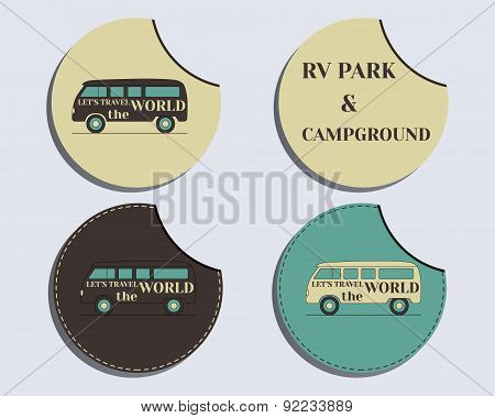 Set of unusual labels - stickers. Travel and Camping brand identity labels - stickers. Rv park and c
