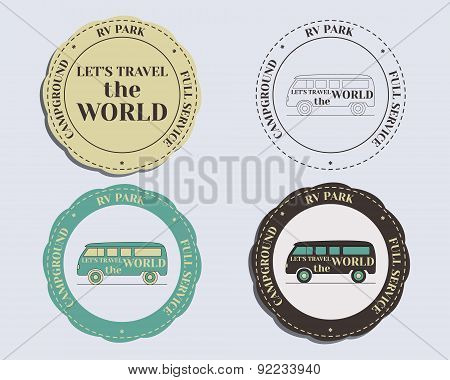 Brand identity elements - logo templates and badges. Rv park and campground. Retro and Vintage color