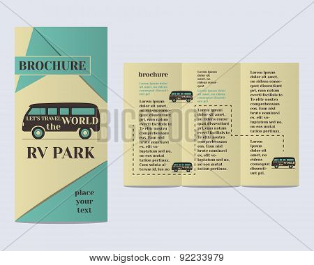 Travel and Camping Brochure Flyer design Layout template. Rv park and campground with infographic el