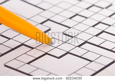 Blank Crossword Puzzle With Pen