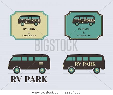 Set of vintage outdoor camp badges and logo emblems. Lovely retro colors. Rv and motorhome design. V