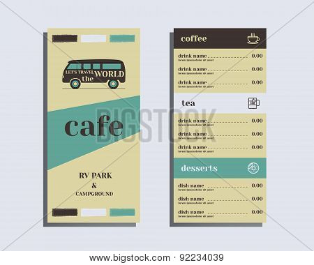 Restaurant and cafe menu. Flat design. Rv park and campground. Retro and Vintage colors design. Isol