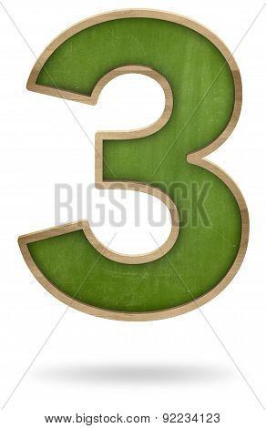 Green blank number 3 shape blackboard