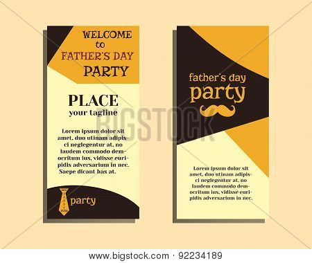 Happy Fathers Day flyer template with mustache and tie. Best for thematic party. Isolated on bright