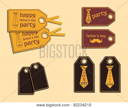 Happy Fathers Day stickers template with mustache and tie. Best for thematic party. Isolated on brig