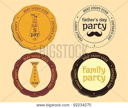 Happy Fathers Day logo and badge template with mustache and tie. Best for thematic party. Isolated o