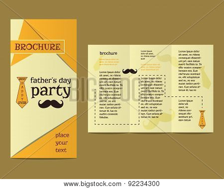 Happy Fathers Day flyer and brochure template with mustache and tie elements Best for thematic party
