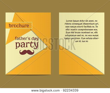 Happy Fathers Day flyer and brochure template with mustache and tie elements. Triangle design. Best