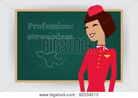 Occupation stewardess profession. Vector illustration.