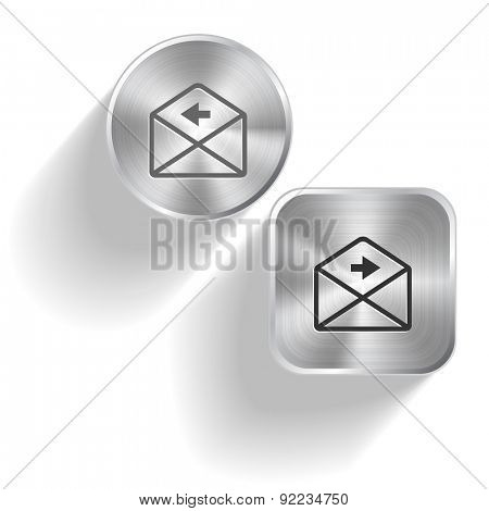mail right arrow. Vector set steel buttons