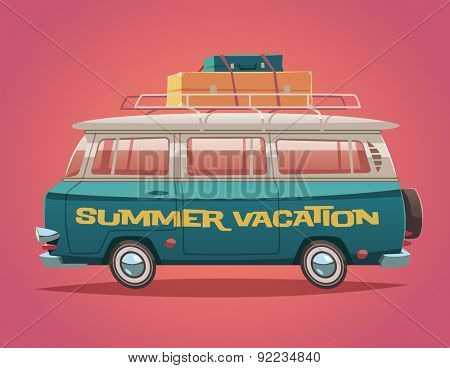 Camper van. Summer vacation. Vector illustration.