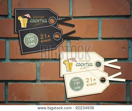 Lounge cocktail party stickers and labels invitation template with Screw driver cocktail. Vintage de