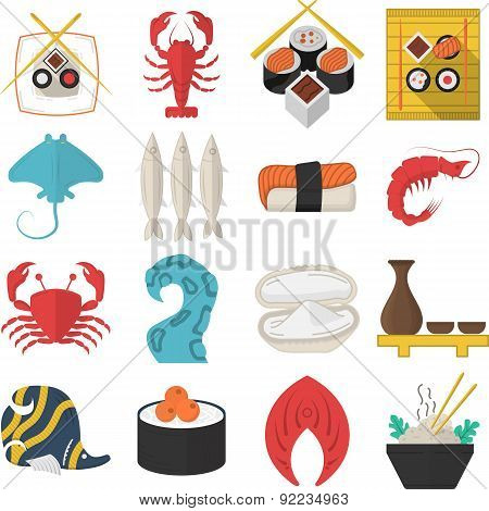 Asian seafood flat color vector icons