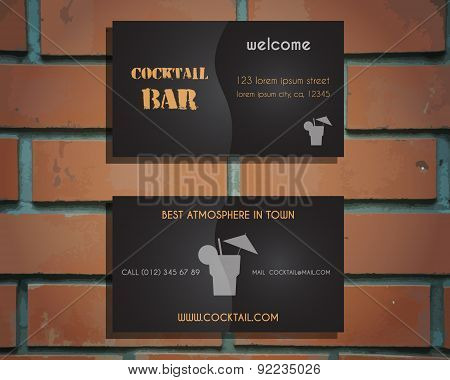 Lounge cocktail bar visiting card template with silhouette Screw driver cocktail icon, logo. Vintage