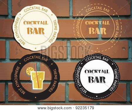Lounge cocktail party badges and logo templates with Screw driver cocktail. Vintage design for bar o