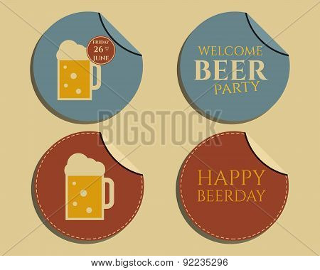 Beer party badges and labels invitation template with glass of beer. Vintage design for club, pub or