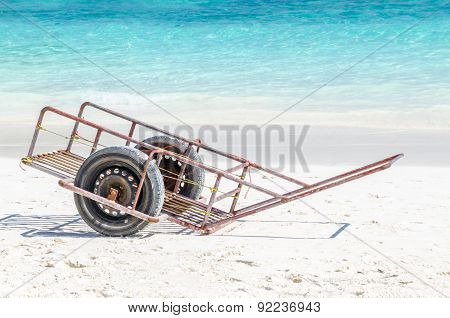Vehicle On Beautiful Beach And Tropical Sea