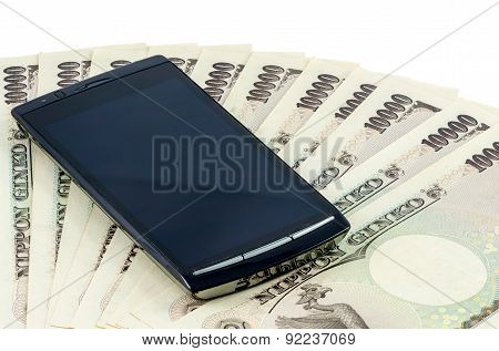 Japanese Yen Cash Bank Note With Smartphone