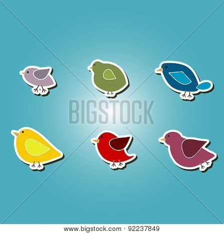 set of color icons with different birds