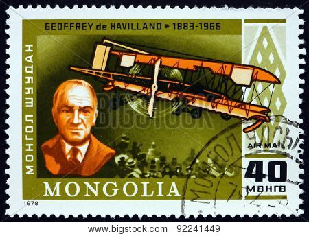 Postage Stamp Mongolia 1978 Geoffrey De Havilland