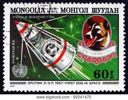 Postage Stamp Mongolia 1982 Sputnik 2 And Laika