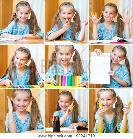 photo collage of a cute little girl playing with plasticine and paints in an album at his desk